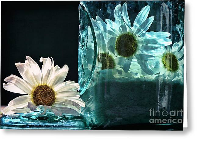 Jar Of Daisies Greeting Card by Sari Sauls