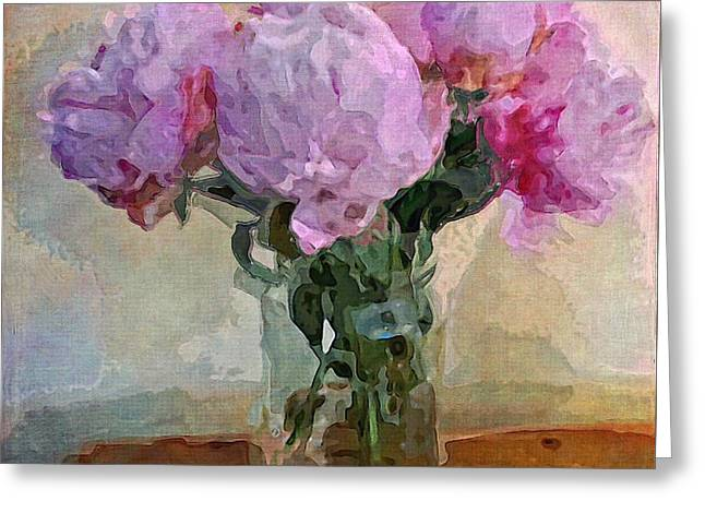 Jar Of Peonies Greeting Card by Alexis Rotella