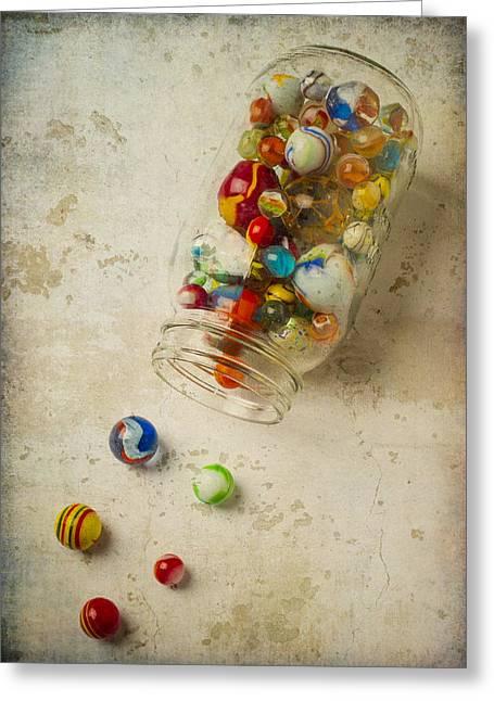Jar Of Slipt Marbles Greeting Card by Garry Gay