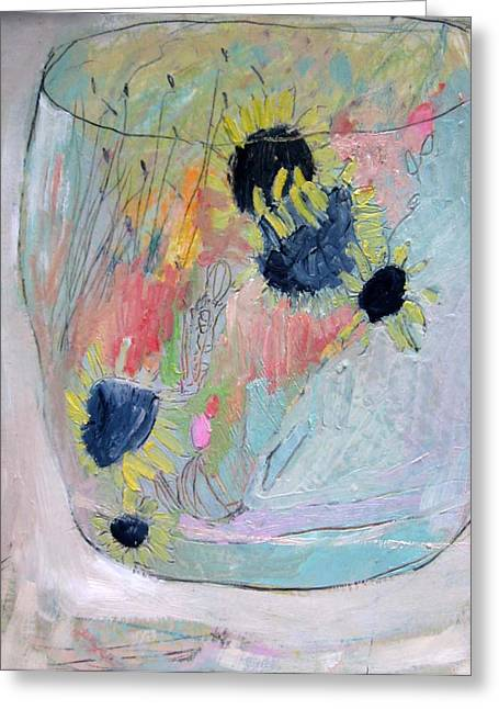 Jar Of Sunflowers Greeting Card by Brooke Wandall