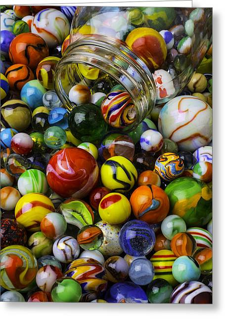 Jar Pouring Out Glass Marbles Greeting Card by Garry Gay