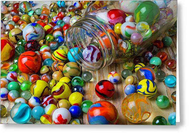 Jar Spilling Colorful Marbles Greeting Card