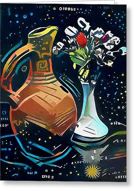 Jar With Wine And Flowers Greeting Card