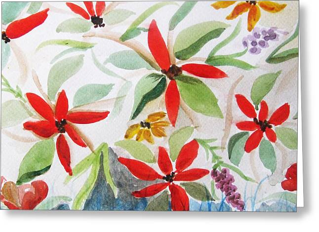 Greeting Card featuring the painting Jardin De Fleur  by Trilby Cole