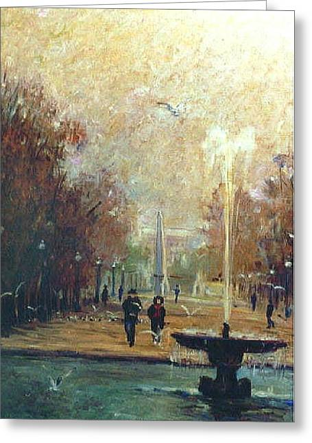 Greeting Card featuring the painting Jardin Des Tuileries by Walter Casaravilla