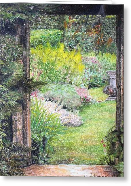 Jardin Greeting Card by Muriel Dolemieux