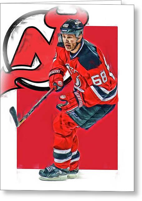 Jaromir Jagr New Jersey Devils Oil Art Series 1 Greeting Card