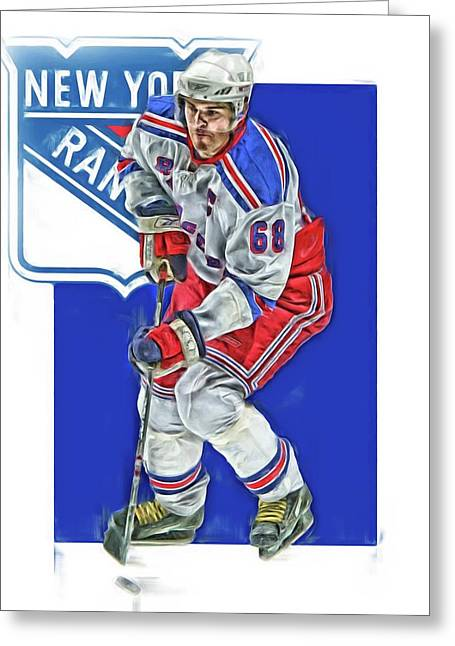 Jaromir Jagr New York Rangers Oil Art Series 5 Greeting Card