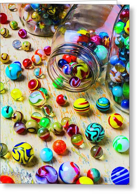 Jars Of Marbles Greeting Card by Garry Gay