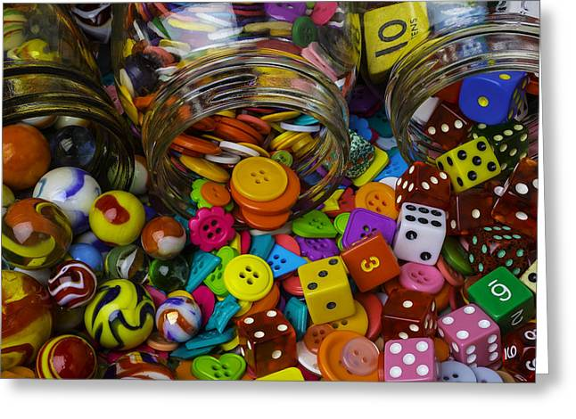 Jars Pouring Out Marbles Buttond Dice Greeting Card by Garry Gay