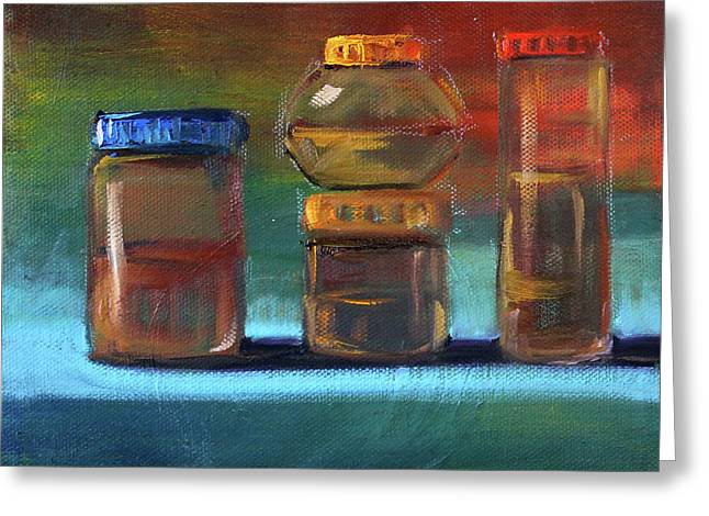 Greeting Card featuring the painting Jars Still Life Painting by Nancy Merkle