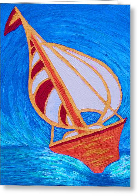 Best Sellers -  - Yellow Sailboats Greeting Cards - Jasmine Greeting Card by Elizabeth Kemp