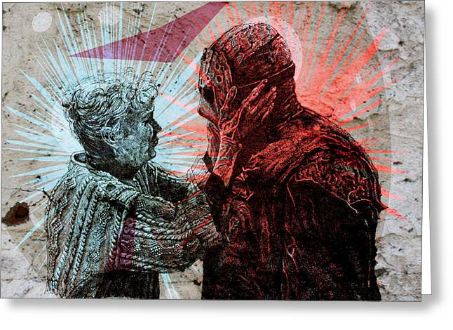 Jason And Mrs Voorhees Greeting Card by Zoe Wall