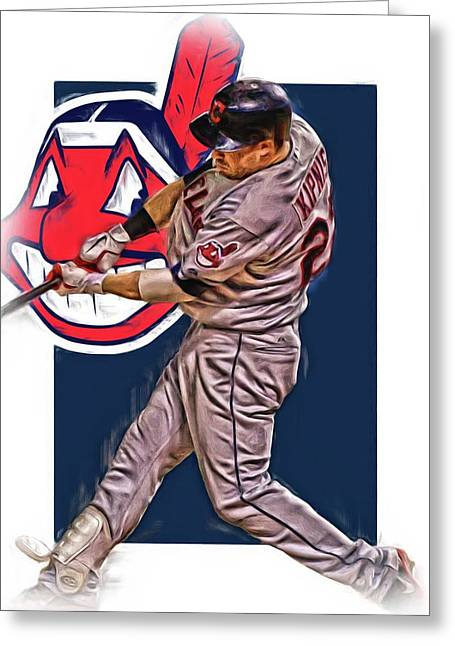 Jason Kipnis Cleveland Indians Oil Art 2 Greeting Card by Joe Hamilton