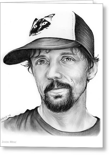 Jason Mraz Greeting Card by Greg Joens