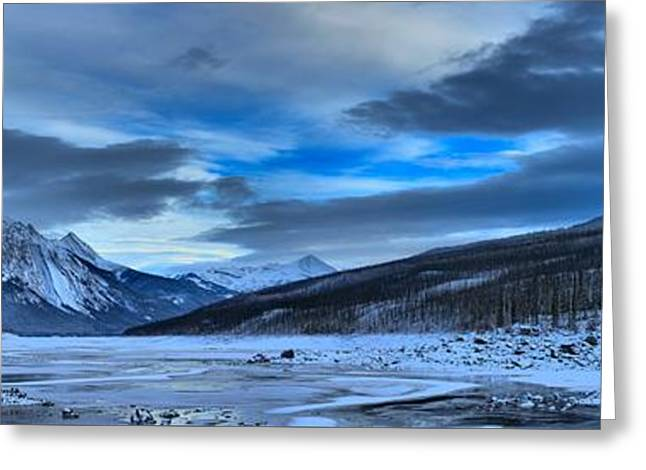 Jasper Medicine Lake Snowy Panorama Greeting Card