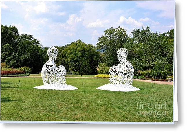 Jaume Plensa - The Soul Of Words I And II Greeting Card by Wanda-Lynn Searles