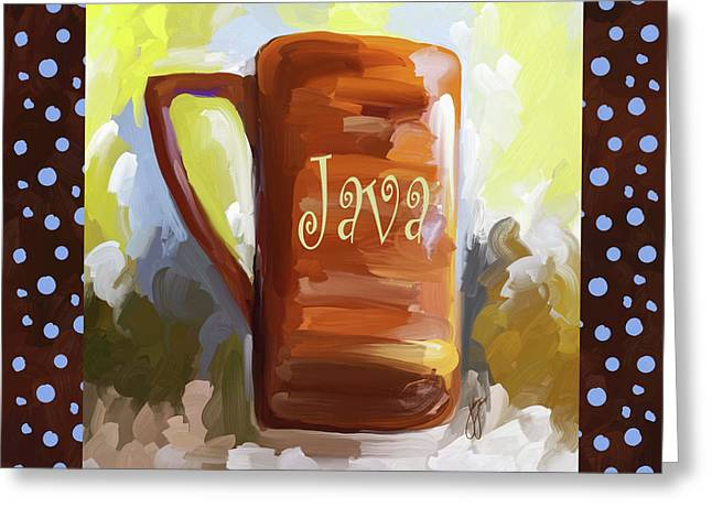 Java Coffee Cup With Blue Dots Greeting Card by Jai Johnson