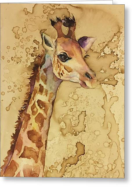 Greeting Card featuring the painting Java Giraffe by Christy Freeman