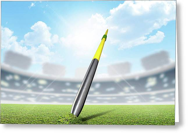 Javelin In Stadium And Green Turf Greeting Card by Allan Swart
