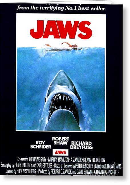 Jaws Movie Poster - 1975 Greeting Card by The Titanic Project