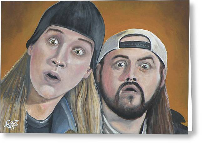 Clerk Greeting Cards - Jay And Silent Bob Greeting Card by Tom Carlton
