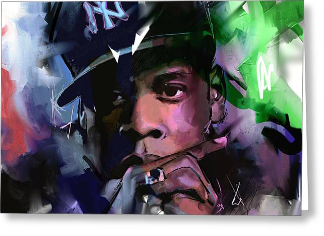 Greeting Card featuring the painting Jay Z by Richard Day