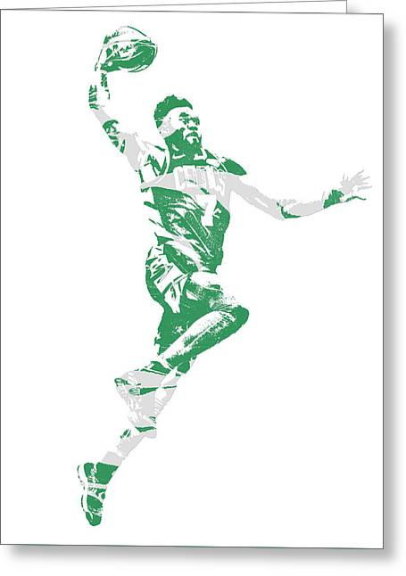 Jaylen Brown Boston Celtics Pixel Art 10 Greeting Card