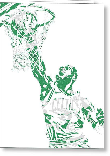 Jaylen Brown Boston Celtics Pixel Art 12 Greeting Card