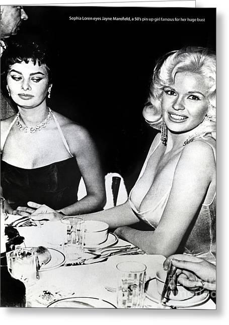 Jayne Mansfield Hollywood  Actress Sophia Loren 1957 Greeting Card