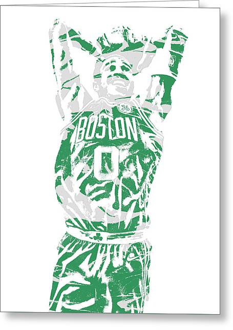 Jayson Tatum Boston Celtics Pixel Art 12 Greeting Card