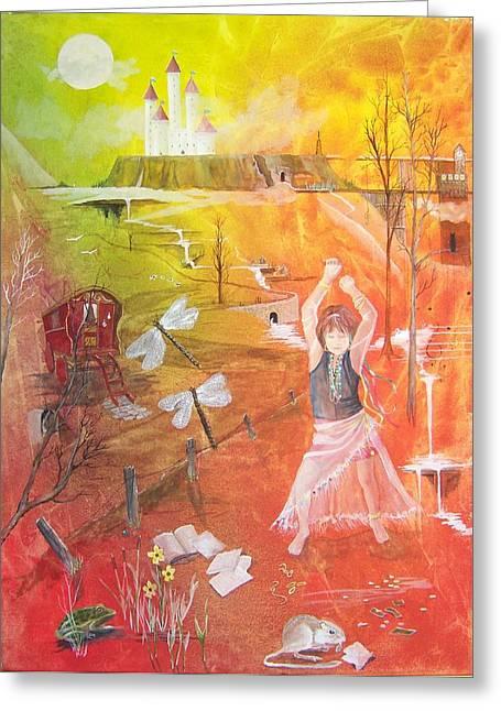 Jayzen - The Little Gypsy Dancer Greeting Card by Jackie Mueller-Jones