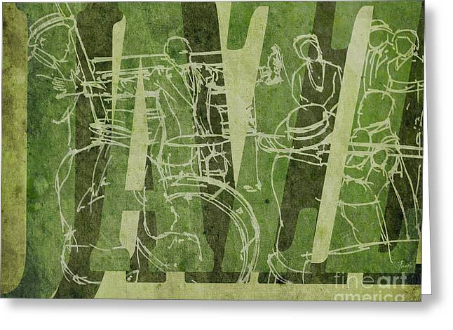 Jazz 31 Satchmo - Green Greeting Card by Pablo Franchi