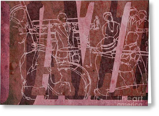 Jazz 31 Satchmo - Red Greeting Card by Pablo Franchi