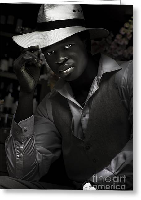 Jazz And Blues Musician In Dark Bar Greeting Card by Jorgo Photography - Wall Art Gallery