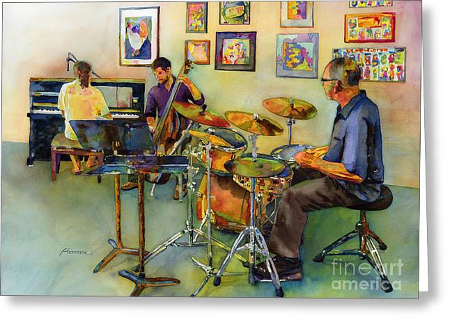 Jazz At The Gallery Greeting Card by Hailey E Herrera