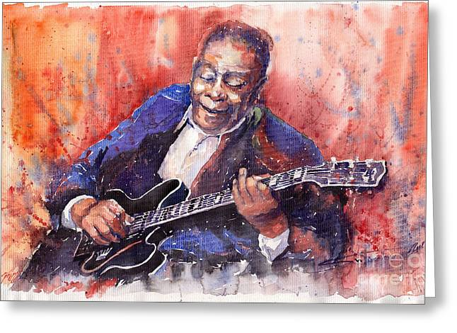 Music Greeting Cards - Jazz B B King 06 a Greeting Card by Yuriy  Shevchuk