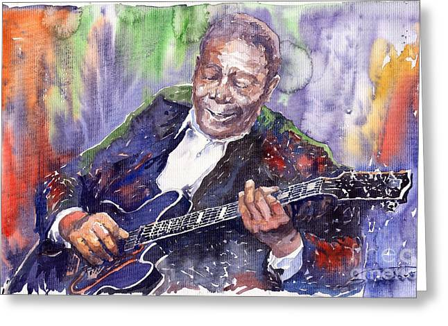 Watercolour Greeting Cards - Jazz B B King 06 Greeting Card by Yuriy  Shevchuk