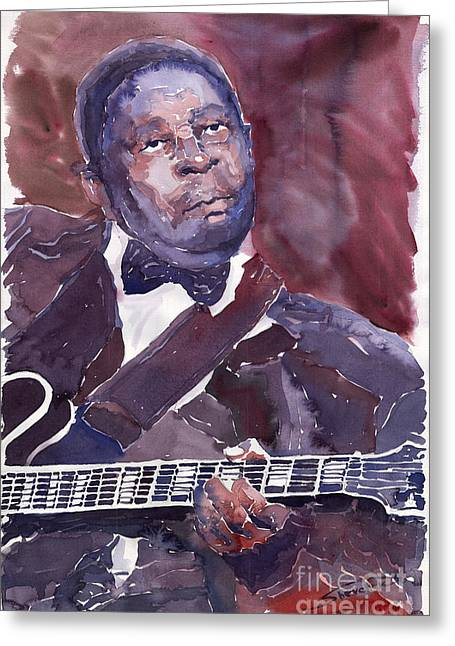 Jazz B B King Greeting Card by Yuriy  Shevchuk