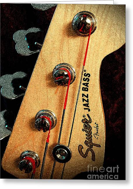 Greeting Card featuring the digital art Jazz Bass Headstock by Todd Blanchard