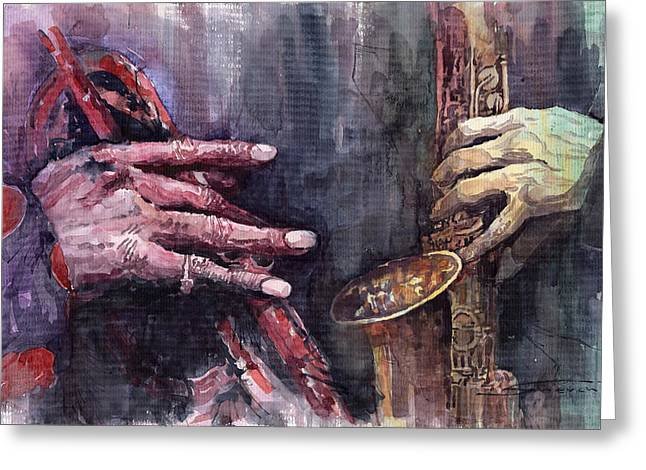 Jazz Batle Of Improvisation Greeting Card by Yuriy  Shevchuk