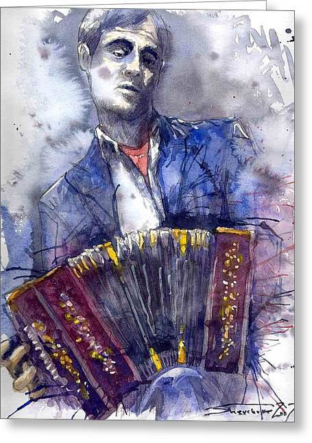 Jazz Concertina Player Greeting Card by Yuriy  Shevchuk
