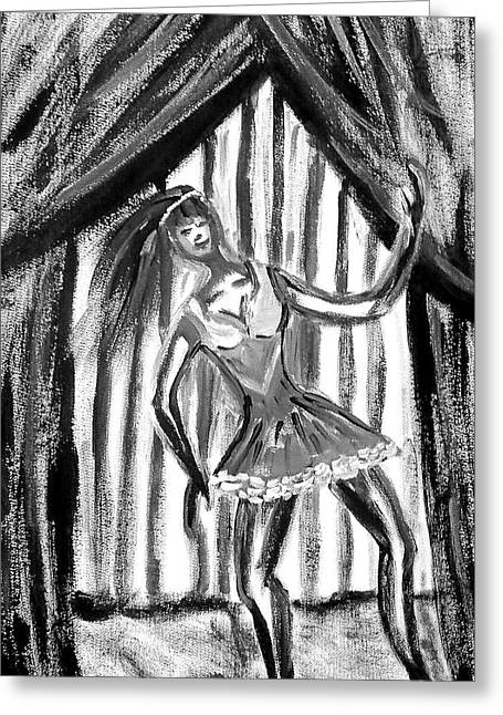 Jazz Dancer In Black  And White Greeting Card by BJ Abrams