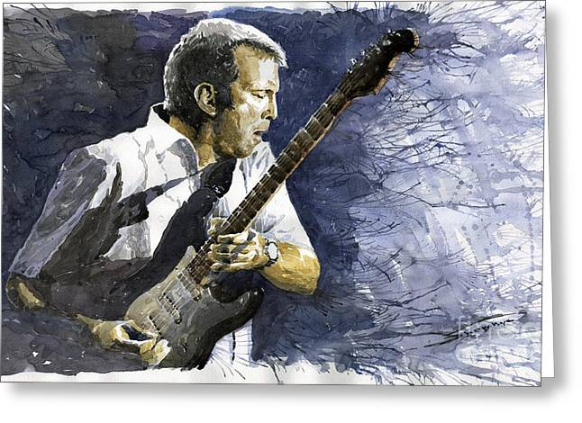 Musicians Paintings Greeting Cards - Jazz Eric Clapton 1 Greeting Card by Yuriy  Shevchuk