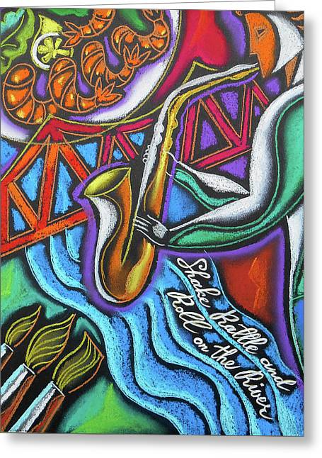 Jazz, Food And Art Festival Greeting Card by Leon Zernitsky