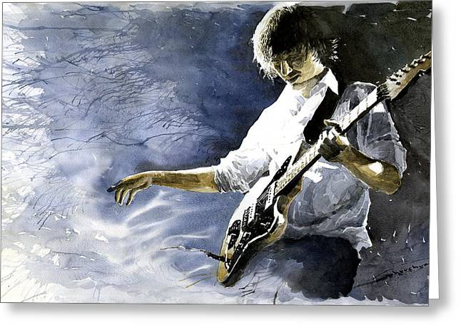 Jazz Guitarist Last Accord Greeting Card by Yuriy  Shevchuk