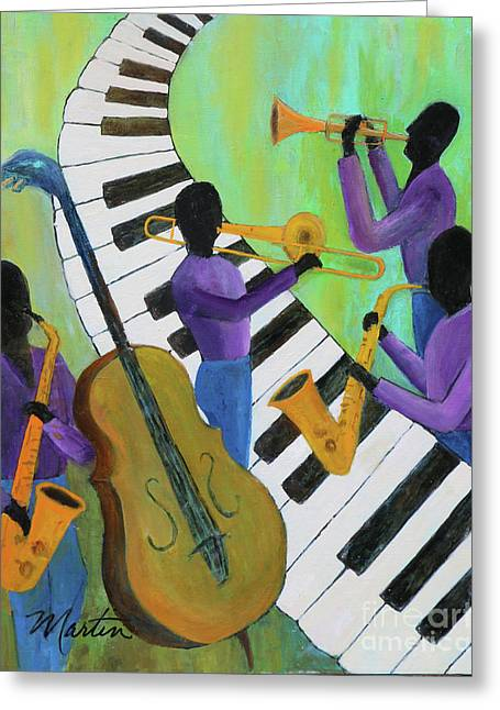 Jazz In A Cool Mood II  Greeting Card by Larry Martin