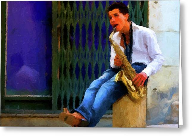 Greeting Card featuring the photograph Jazz In The Street by David Dehner