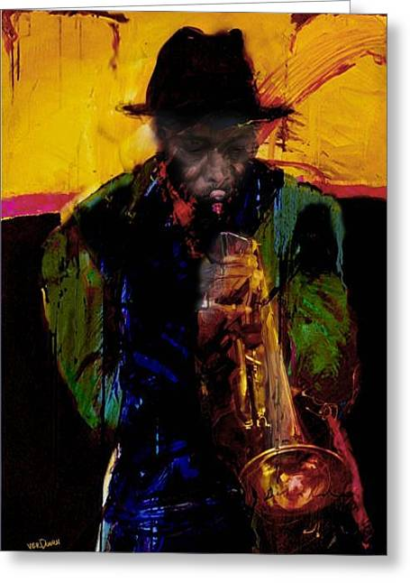 Jazz Man 3 Greeting Card by James VerDoorn