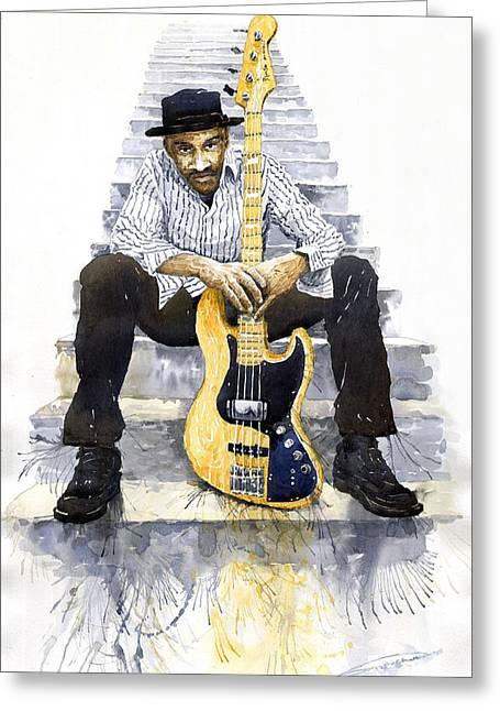 Jazz Marcus Miller 4 Greeting Card by Yuriy  Shevchuk